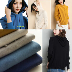 Women Hooded Sweater Knitted Cashmere Wool Pullover Hoodie Long Sleeve Jumper uk