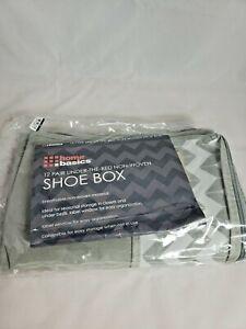 Home Basics NEW Under the Bed Chevron Shoe Plastic Storage Bin Organizer SB49915