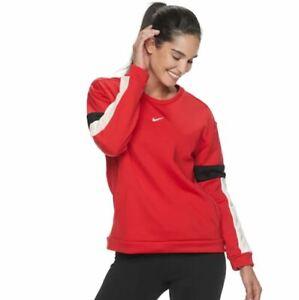 NWT Women's Nike Therma Long-Sleeve Training Top Sweatshirt University Red Wh