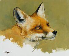 Original peinture à l'huile-wildlife art-fox portrait-par j payne