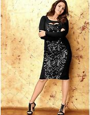 LANE BRYANT Black Sequin Sheath Dress Art Deco Cocktail Party Plus SIZE 22
