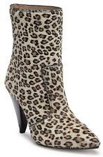 Stuart Weitzman Atomic West Bootie Women's Calf Fur Heel Boots Leopard Size 10