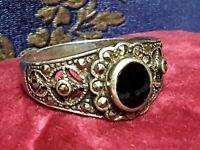 Jugendstil Silber Ring Onix und Markasiten 925 Sterling Silber RG 63/20 mm A221