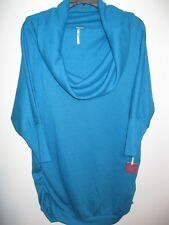 Poof Excellence Juniors Sweater Size Large Turquoise Cowl Neck New with Tags