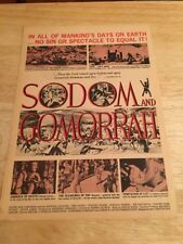 """Vintage 1963 """"SODOM AND GOMORRAH"""" Movie Ad -  Stewart Granger, Pier Angeli"""