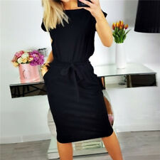 Womens Casual Pocket Summer Ladies Short Sleeve Evening Party Jersey Midi Dress