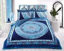 Blue Paisley Mandala King Size Bed Bedding Set Duvet Quilt Cover & Pillowcases