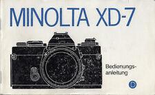 Minolta Bedienungsanleitung für XD-7 - Anleitung