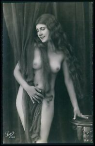 French nude womanbrunette long hair original c1910-1920s photo postcard