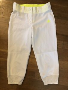 ADIDAS Climalite White Yellow inside Softball Pants M Medium