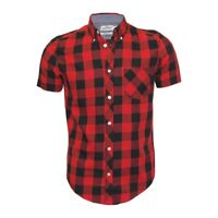 Ex Chainstore Next Men's Short Sleeve Check Cotton Summer Casual Shirt Tops