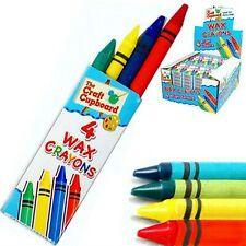 Pack of 4 Wax Colouring Crayons 4 Bright Colours Party Bag Loot Stocking Filler