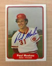 PAUL MOSKAU CINCINNATI REDS SIGNED AUTOGRAPHED 1982 FLEER CARD #76 W/COA