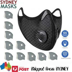 Face Mask For Sports Air Pollution Dual Valve Respirator & Filters + In Sydney