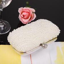 Handmade Beaded Pearl Evening Bag Clutch Crystal Purse Party Wedding Beige New