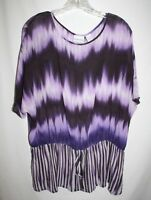 Chicos Misses 3 Purple Sheer Top Dolman Sleeve Peplum Stripe Tie Hem Silk Blouse