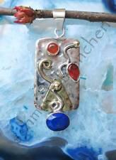 Colgante lapislázuli Azul Piedra De Amistad Y Cornalina Plata Esterlina 925