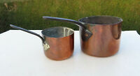 Two Small Victorian Copper Saucepans / Pots both stamped EE, Iron Handles