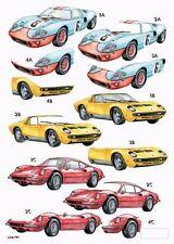 Craft UK A4 Die Cut Decoupage Line 791 - Classic Super Cars, Lamborghini,Ferrari
