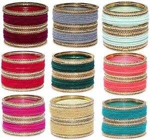Indian Bangles Jewelry Velvet Crystal Bangle Churi Arrangement Set Of 24 Bangles