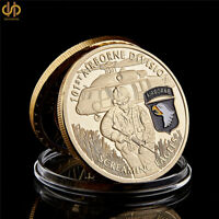 USA Screaming Eagles Army 101st Airborne Division Gold Plated Souvenir Coin
