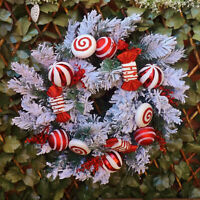 Large Luxury Red & White Christmas Candy Cane Winter Snow Wreath Decoration 2FT
