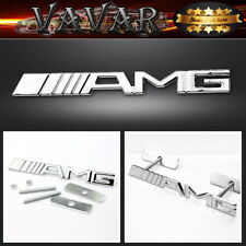 Silver AMG Car Front Hood Grille Grill Badge Emblem Auto 3D Metal Logo