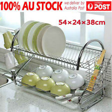 New Plated Steel 2 Layers Chrome Dish Rack Cup Drying Tray Drainer Utensil Dryer