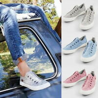 Women's Summer Casual Canvas Flat Sneakers Slip-on Loafers Pumps Comfy Shoes SH