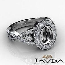 Oval Cut Semi Mount 1.65Ct Diamond Engagement Halo Bezel Set Ring 14k White Gold