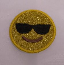 Embroidered Glitter Sparkle Gold Shades Sunglasses Emoji Applique Patch Iron On