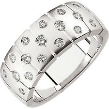14 KT White Gold & Gypsy Set White Diamond Thick Wide Matte Cigar Band Ring NEW