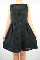 Oasis Black Aline Dress Broderie Anglaise Cotton Office Holiday Summer Size 12 X