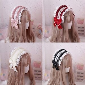 Lolita Girl JK Bud Silk Bowknot Headwear Headband Pearl Hair Accessory Headdress