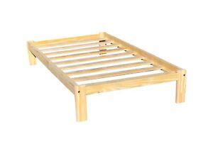 Platform Twin Bed Single Alaska Wooden Bed Unfinished with Wooden Slats