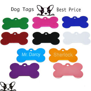 Engraved Pet Tags Aluminium DOG CAT ID Bone 10 Colours Engraving Identity
