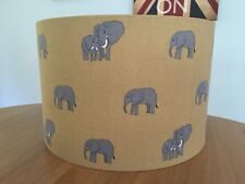 Handmade Lampshade Sophie Allport New Elephant Fabric Mustard Yellow Grey Africa