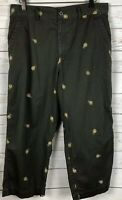 Tahiti Reef Club Green Capri Women's Embroidered Pineapples Size 12