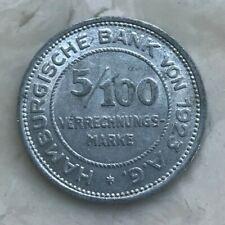 1923 Germany 5/100 Mark - Scarce Aluminum