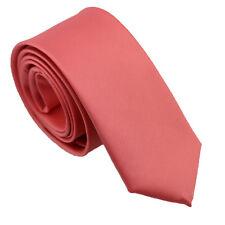 Coachella Ties Peach Coral Pink Solid Color Microfiber Necktie Skinny Tie 6cm
