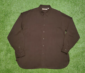 Tommy Bahama Men's Brown 100% Silk Button Down Shirt Size XL Relaxed Fit