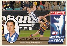 Select 2005 Tradition ADAM SIMPSON Kangaroos  Mark of the Year card