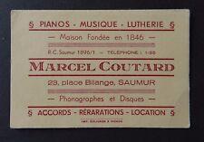 Carte de visite MARCEL COUTARD piano musique lutherie SAUMUR old visit card