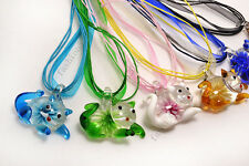 FREE Wholesale Lot 12ps Animal Cat Flower Lampwork Glass Pendants Silk Necklace