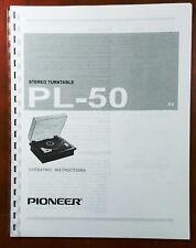 Pioneer PL-50 Turntable Owners Manual
