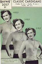 "Vintage 1940's Knitting Pattern Ladies V Neck Cardigan 2,3 Or 4 Ply 34-36"" B2057"