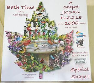 Sunsout CARDINAL BIRD BATH TIME Shaped Jigsaw Puzzle 1,000 PC Lori Schory SEALED