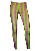 NEW GREEN & PURPLE STRIPES STRIPED CLOWN LEGGINGS FUNKY GOTH PUNK EMO HALLOWEEN
