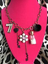 Betsey Johnson Wonderland DRINK ME Bottle Pearl Teacup 7 Arrow Long Necklace