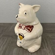 VINTAGE 1940'S NELSON McCOY POTTERY BEAR COOKIE JARGood Condition